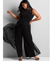 lane bryant women's mesh overlay jumpsuit 16 black