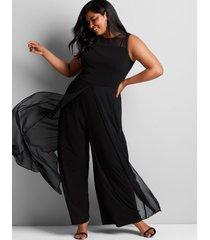 lane bryant women's mesh overlay jumpsuit 22 black