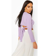 jumbo rib tie back long sleeve top, lilac