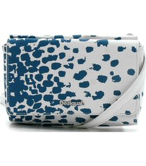 bolsa tiracolo desigual full print branca/azul