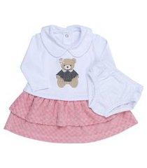 vestido coquelicot manga longa com calcinha ursinha branco/rosa