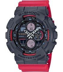reloj g shock ga-140-4adr rojo resina