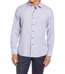 david donahue trim fit plaid dress shirt, size 17.5 in blue/lilac at nordstrom