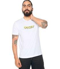 camiseta blanca-amarilla oakley