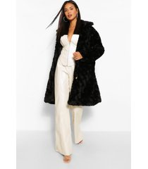 getextuurde faux fur jas, zwart
