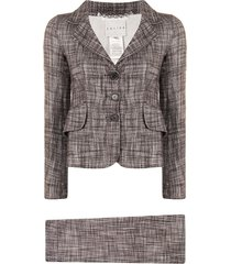 céline pre-owned pre-owned notched lapels skirt suit - brown