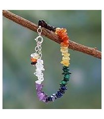 multi-gemstone chakra bracelet, 'peaceful mantra' (india)