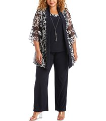 r & m richards plus size 2-pc. layered-look jacket top & pants set