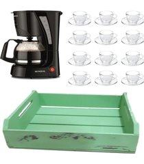 kit 1 cafeteira mondial 110v, 12 xícaras 240ml com pires e 1 bandeja mdf verde