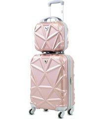 amka gem 2-pc. carry-on hardside cosmetic luggage set