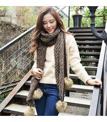 fashion irregular rectangle mixing rabbit fur balls winter long scarves shawl