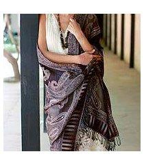 jamawar wool shawl, 'earthen splendor' (india)