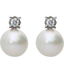 orecchini in oro bianco, perle e diamanti 0,16 ct per donna