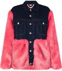 denim faux fur jacket