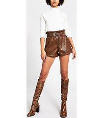 river island womens brown belted faux leather mom shorts