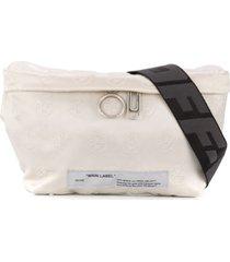 off-white pochete jacquard com logo - branco