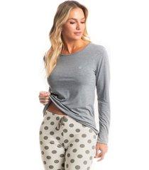 pijama longo legging poá mel