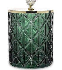 pojemnik szkalny ze złotą pokrywą zielony