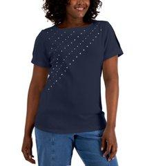 karen scott cotton studded slit-sleeve top, created for macy's