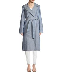 lafayette 148 new york women's rayna embellished coat - chambray - size m