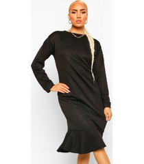 midi sweatshirt jurk met franjezoom, black