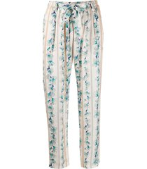 forte forte tie waist cropped floral print trousers - neutrals