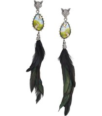 alexis bittar women's 10k goldplated, feather, lucite, & crystal clip-on drop earrings