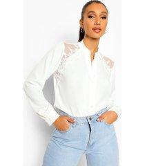 blouse met kanten schouders, ivory