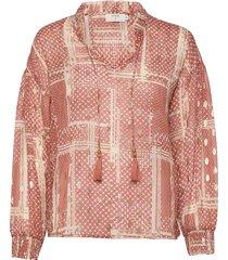 aganacr blouse blus långärmad rosa cream