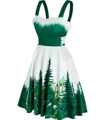 christmas faux fur lace up tree print dress