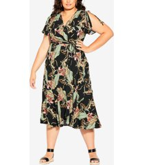 city chic trendy plus size island palm maxi dress