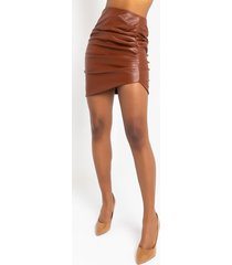 akira luxe faux leather ruched skirt