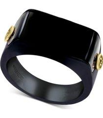 effy men's black onyx & 18k gold ring in black pvd-coated sterling silver