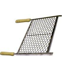 grelha em aço inox com cabo de madeira 60x50cm