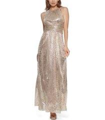 eliza j metallic animal-print gown
