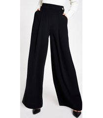 river island womens black belted tab side wide leg trousers