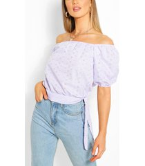 broderie anglaise tie detail blouse, lilac