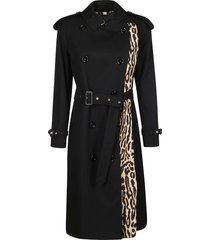 burberry black cotton trench coat