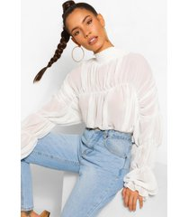 chiffon blouse met ruches, wit