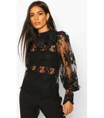 embroidered bow detail blouse, black