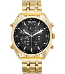 kenneth cole reaction men's analog-digital gold-tone stainless steel bracelet watch 45mm