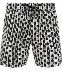 balmain logo print swim shorts - black