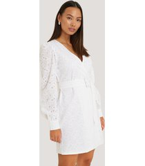 na-kd boho anglaise overlap dress - white