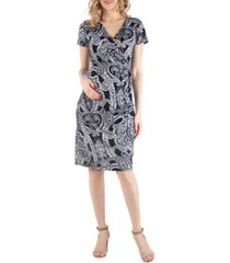 24seven comfort apparel paisley faux wrapover maternity dress
