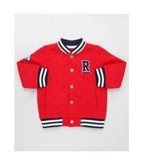 jaqueta bomber infantil em moletom com bolsos vermelha