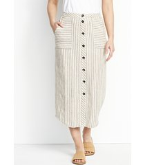 orvis performance linen striped button-front skirt, xl