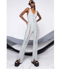 akira lace it up jumpsuit with multi laces