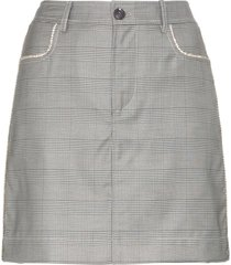 ganni merkel check silk and wool blend skirt - grey