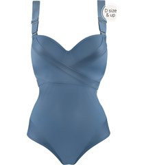 cache coeur plunge balcony bathing suit | wired padded air force blue - 36dd/e