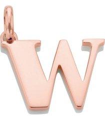alphabet pendant w, rose gold vermeil on silver
